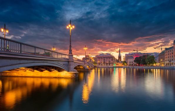 Picture bridge, river, building, the evening, lights, Stockholm, Sweden, Sweden, Old Town, Stockholm, Old town