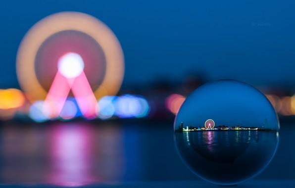 Picture Blue, Lights, Evening, Ferris wheel, Blurring