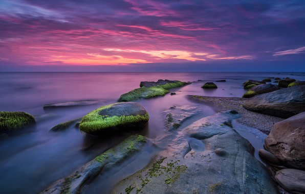 Picture sea, beach, landscape, sunset, nature, sunrise, stones, rocks, pink, shore, nature, sunset, pink, seascape, beautiful, …