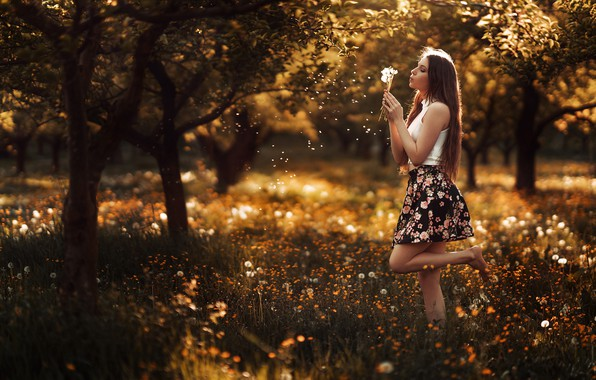 Picture summer, grass, the sun, trees, flowers, pose, model, skirt, barefoot, makeup, Mike, hairstyle, brown hair, …