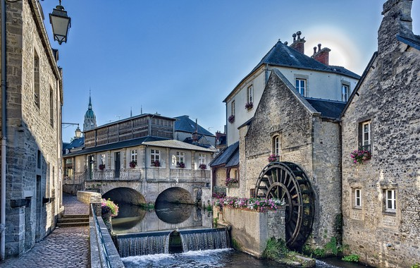 Picture flowers, river, France, building, home, cascade, promenade, water mill, France, Normandy, Normandy, Aire River, the ...