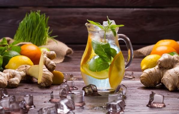 Picture ice, lemon, orange, drink, pitcher, mint, lemonade, ginger