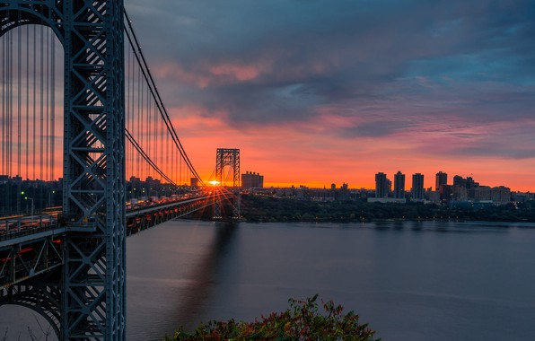 Picture road, sunset, river, view, New York, Manhattan, Manhattan, New York City, Hudson River, Hudson, the …
