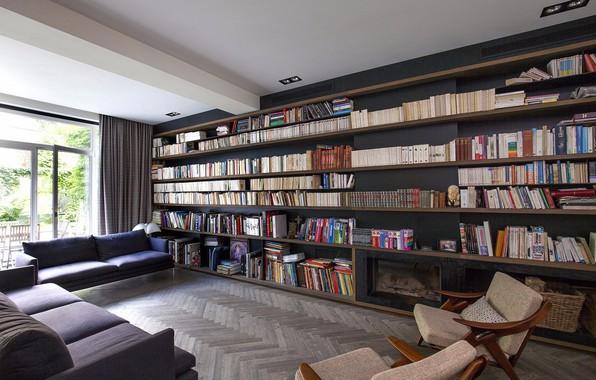Picture room, Villa, interior, library, living room
