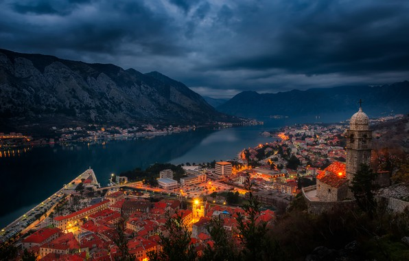 Picture mountains, night, lights, shore, home, Bay, Montenegro, the fjord, Kotor