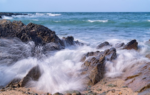 Picture sea, wave, stones, rocks, coast, Wales, Wales, Anglesey County