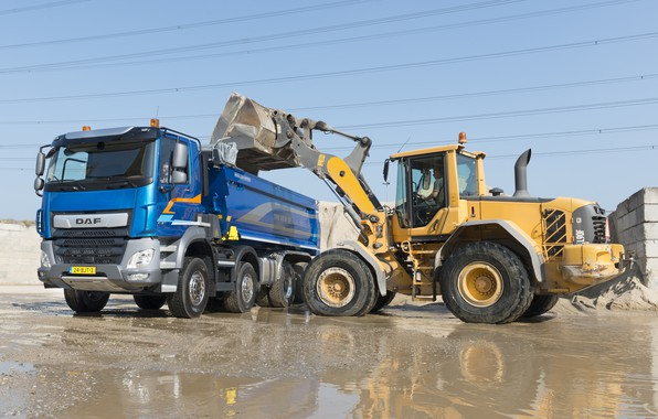 Picture the sky, blue, wire, puddles, body, Playground, DAF, DAF, dump truck, loading, 2017, machinery, 8x4, …