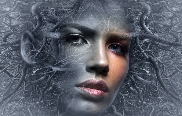 Picture girl, face, fantasy, mood, woman, thoughts, people, tale, head, fantasy, surreal, mystical, fantasy photo