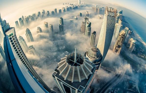 Picture the sky, the city, fog, Dubai, Dubai, UAE