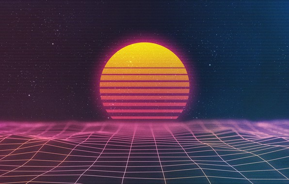 Picture The sun, Music, Stars, Neon, Space, Background, Synthpop, Darkwave, Synth, Retrowave, Synthwave, Synth pop