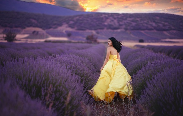 Photo wallpaper field, girl, joy, dress, lavender