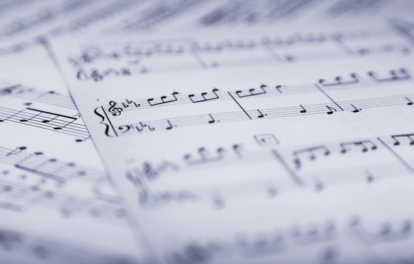 Picture notes, music, music, leaves, sheet music