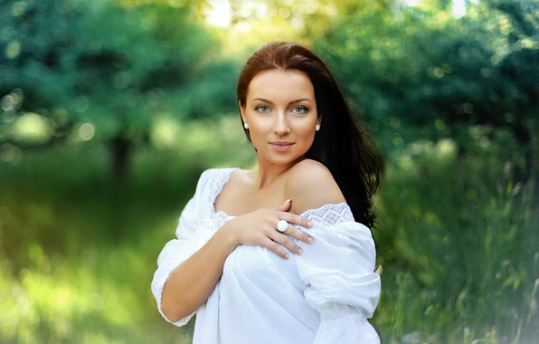 Picture greens, grass, girl, trees, glare, background, portrait, makeup, dress, hairstyle, brown hair, beautiful, in white, …