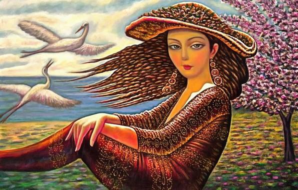 Picture woman, hat, cranes, Awakening, Sevada Grigoryan