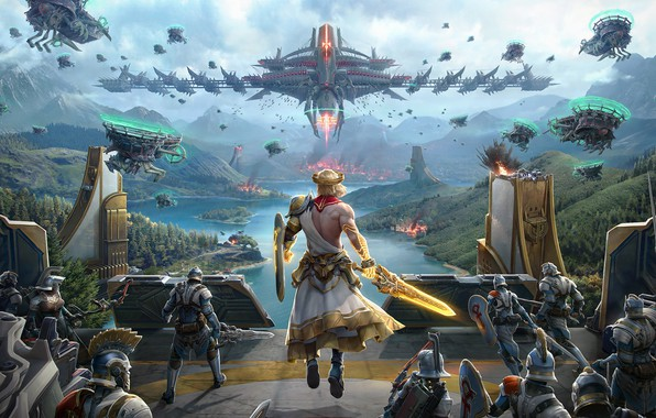 Picture fiction, the game, army, art, battle, Anton Lavrushkin, Skyforge: PS4 Promotional materials