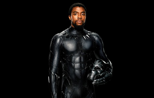 Picture fiction, black, mask, costume, black background, poster, comic, MARVEL, You Challa, Black Panther, Chadwick Boseman, ...