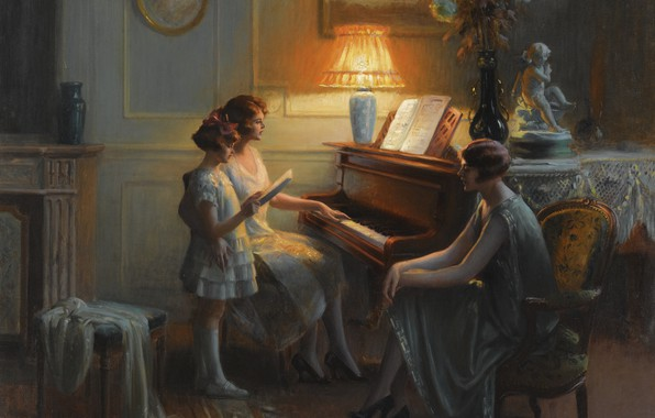 Photo wallpaper flowers, lamp, oil, the evening, piano, Academism, Dolphin Angola, Singing lesson