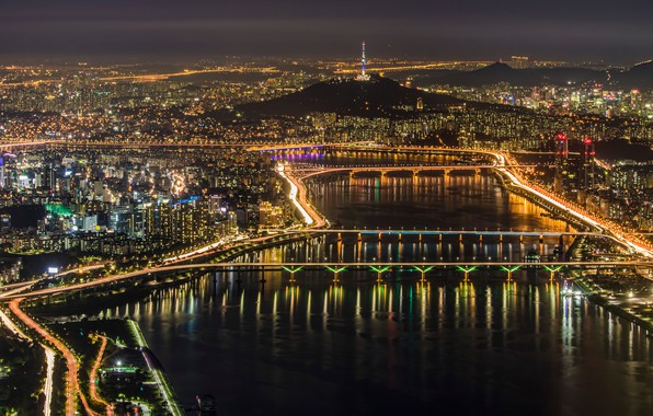 Picture night, the city, lights, panorama, Seoul, Seoul