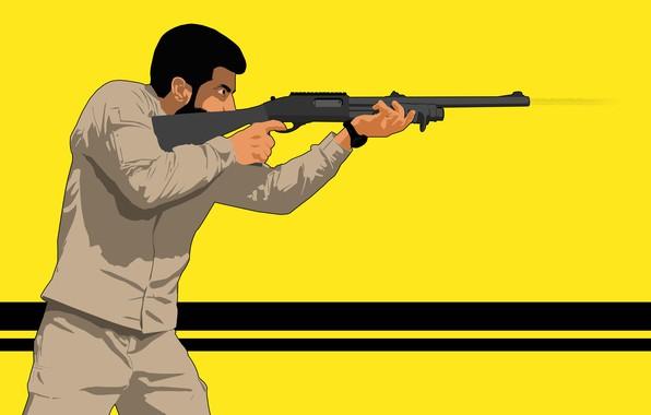 Picture fire, gun, yellow, man, army, shoot, shotgun, assassian