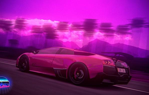 Picture Auto, Music, Lamborghini, Neon, Machine, Palm trees, Art, Lamborghini Murcielago, Supercar, Murcielago, Synthpop, Darkwave, Synth, …