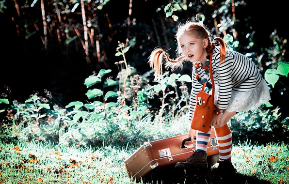 Picture summer, nature, girl, braids, suitcase, knee, Pippi, Longstocking