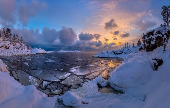 Picture winter, snow, lake, ice, Lake Ladoga, Karelia, Fedor Lashkov