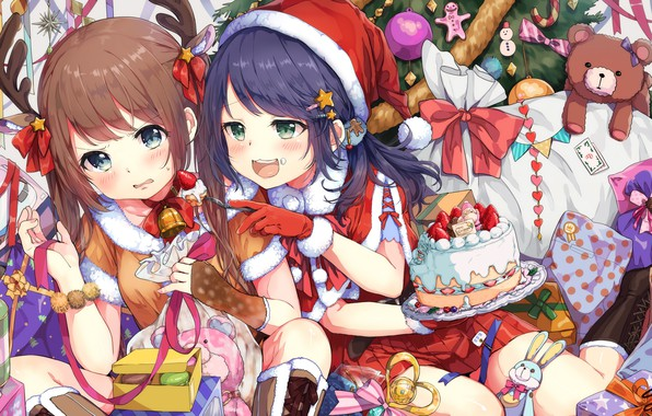 picture girls new year anime sweets