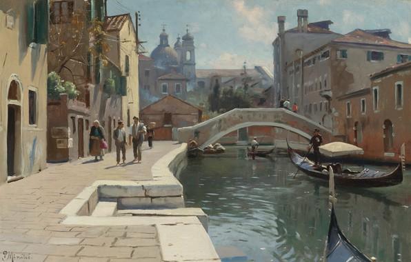 Picture Danish painter, 1928, Peter Merk Of Menstad, Peder Mørk Mønsted, Danish realist painter, Canal in …