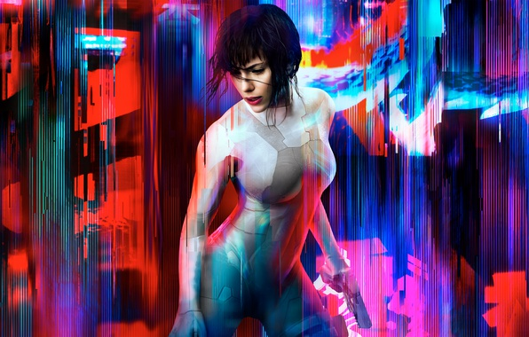 Picture Pink, Scarlett Johansson, Girl, Action, Red, Ghost, Shell, Beautiful, the, Black, DreamWorks, Warrior, Female, Eyes, …
