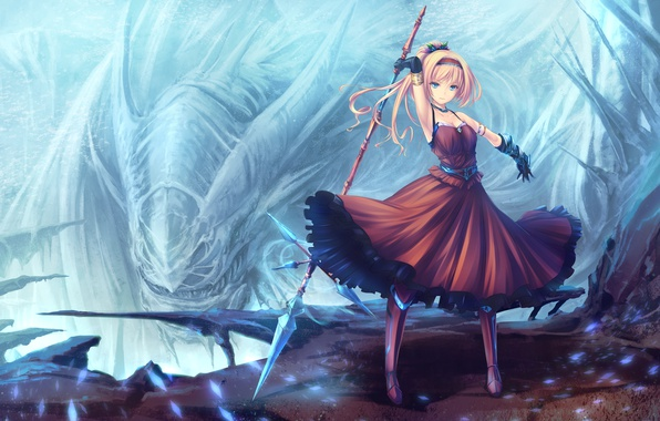 Picture girl, weapons, monster, dress, gloves, spear, anime, art