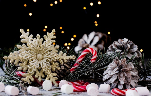 Picture holiday, new year, Christmas, candy, needles, bumps, snowflake, decor
