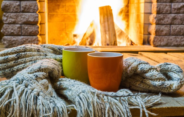 Picture comfort, house, fire, scarf, Cup, fireplace