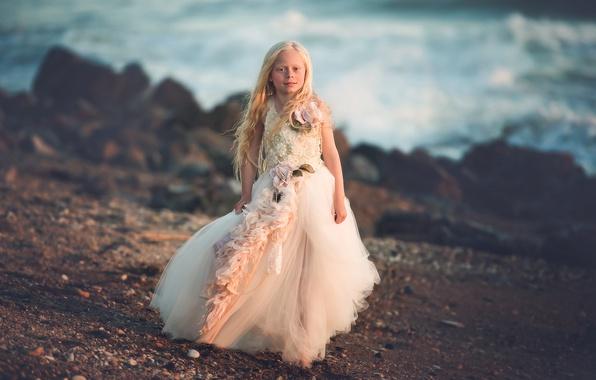 Picture shore, dress, girl, Sea Princess