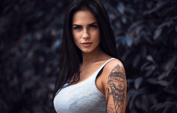 Picture look, background, model, portrait, makeup, Mike, brunette, tattoo, hairstyle, beauty, bokeh, body art, Marlen Alvarez …
