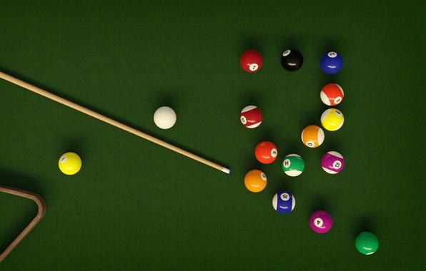 Picture table, balls, Billiards, cue, pool