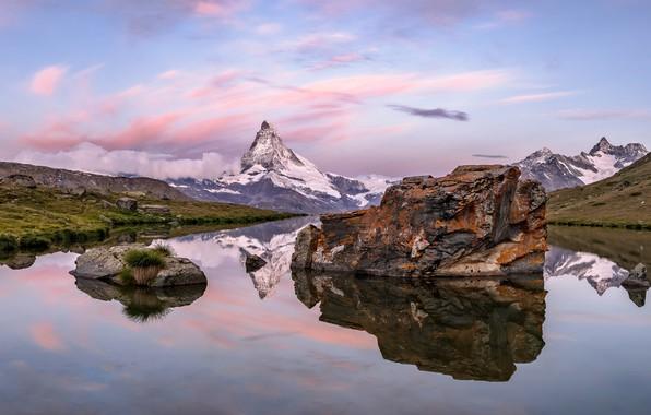 Picture lake, stones, mountain, Switzerland, Matterhorn