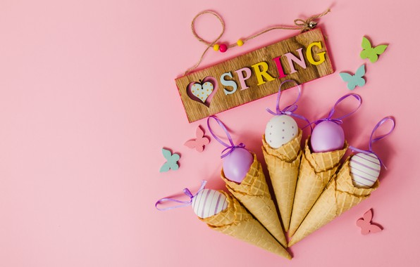 Picture butterfly, background, pink, spring, Easter, horn, pink, spring, Easter, eggs, decoration, Happy, waffle, the painted …