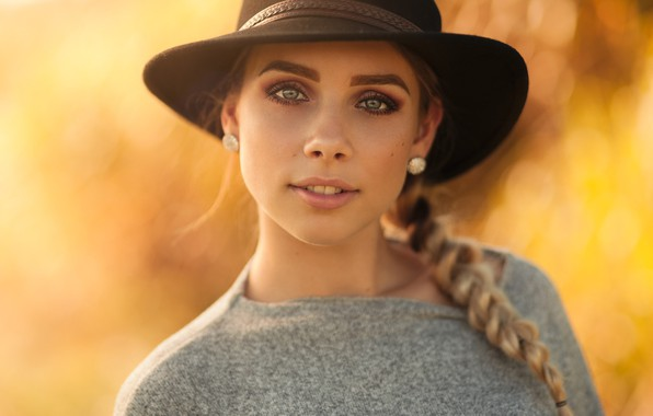 Picture look, yellow, background, portrait, hat, makeup, hairstyle, blonde, beauty, pigtail, bokeh