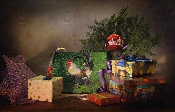 Picture holiday, toys, tree, picture, gifts, box, 2017, the year of the rooster