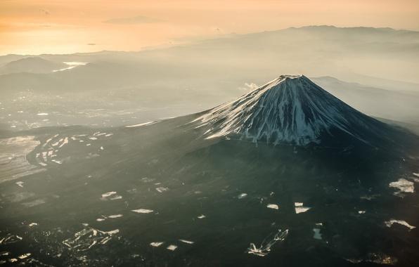 Picture light, Japan, valley, haze, mount Fuji, Fuji