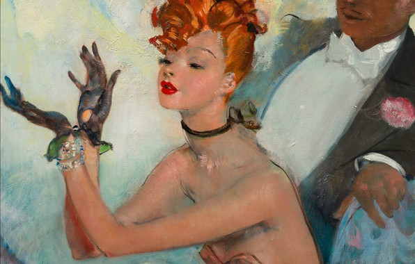 Picture woman, male, red, applause, Modern, Jean-Gabriel Domergue, Mayan theatre