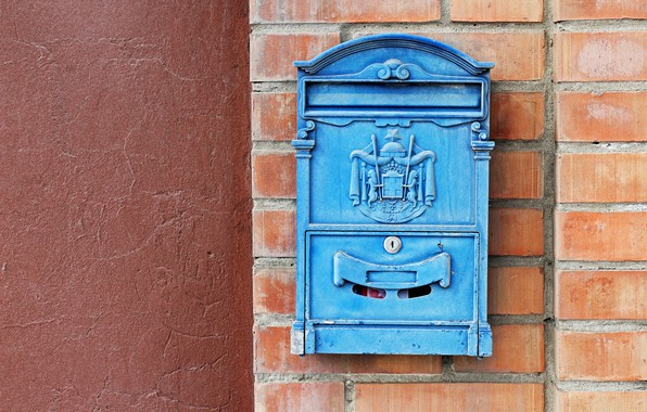 Picture red, style, castle, blue, sign, gate, Wall, bricks, box, finish, mail