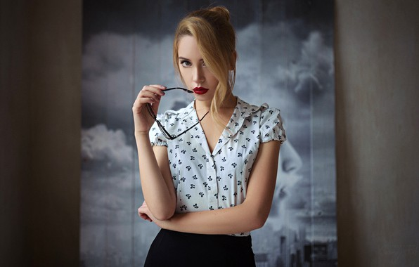 Picture look, pose, background, model, skirt, portrait, makeup, glasses, hairstyle, blouse, beauty, bokeh, Ksenia Kokoreva, Sergey …