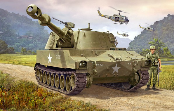 Picture SAU, self-propelled howitzer, M109, American self-propelled artillery, 155mm Self-Propelled Howitzer