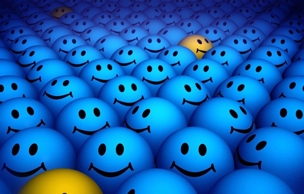 Picture balls, yellow, background, mood, positive, smiles, faces, picture, blue, smile