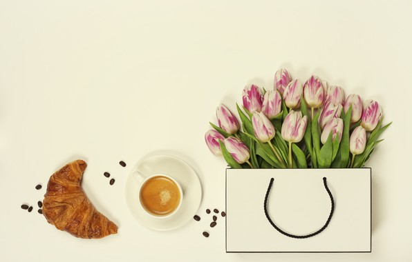 Picture flowers, coffee, Handbag, tulips, Croissant