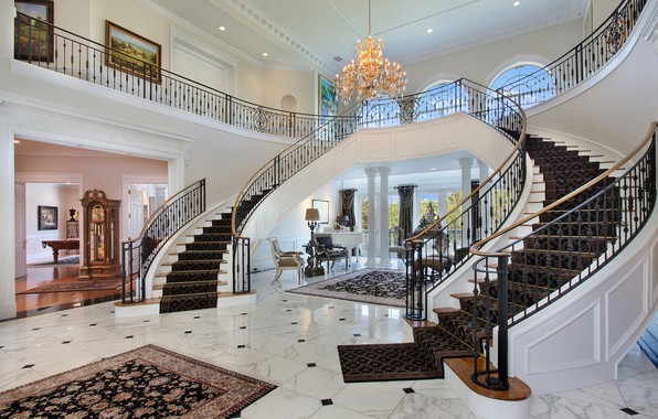 Picture Beautiful, White, Vintage, Hall, Marble, Stairs