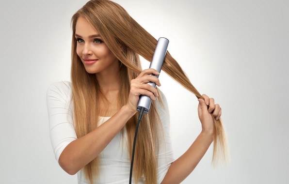 Picture woman, smile, hair iron