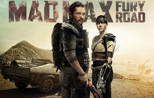 Picture fiction, Charlize Theron, desert, action, poster, Charlize Theron, Tom Hardy, Tom Hardy, Mad Max: Fury …