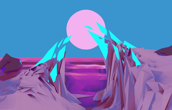 Picture purple, the sky, water, the sun, mountains, lilac, pink, stone, neon, distortion, stone, shades of …